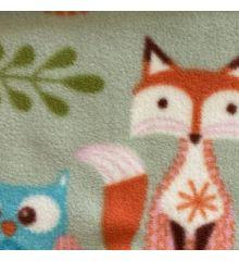 Printed Anti-Pil Fleece - Owls & Foxes-Green