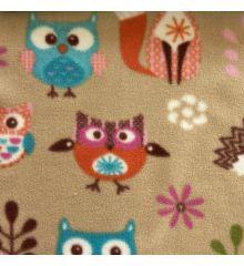 Printed Anti-Pil Fleece - Owls & Foxes-Tan