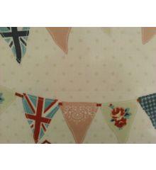 Fryetts Bunting PVC Coated Tablecloth Fabric-Blue
