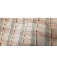 Checkered Check Lining Taffeta Fabric-Cream/Pink Line