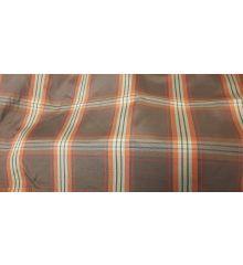 Checkered Check Lining Taffeta Fabric-Chocolate/Red Line
