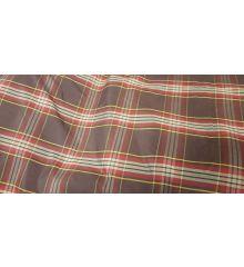 Checkered Check Lining Taffeta Fabric-Chocolate/Yellow Line