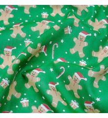 Christmas Polycotton Fabric - Christmas Gingerbread Hats-Green