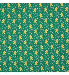 Christmas Polycotton Crafting Fabric 112cm Wide 40+ Designs-Christmas Gingerbread Cane Polycotton - Green