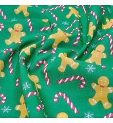 Christmas Polycotton Fabric - Christmas Gingerbread Cane-Green
