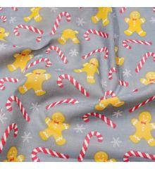 Christmas Polycotton Fabric - Christmas Gingerbread Cane-Grey
