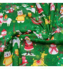 Christmas Polycotton Fabric - Christmas Party-Green
