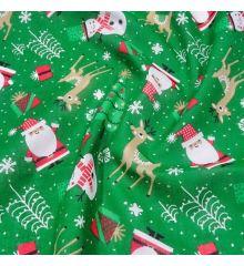 Christmas Polycotton Fabric - Santa & Snowman-Green
