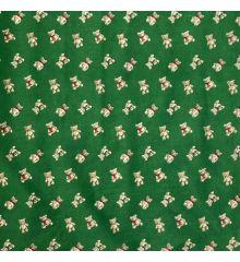 Christmas Polycotton - Christmas Teddy Bears-Green