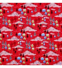 Christmas Polycotton Crafting Fabric 112cm Wide 40+ Designs-Christmas Town - Red