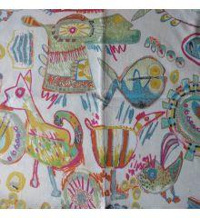 Desert Half Panama Cotton Curtain Fabric-Pastel