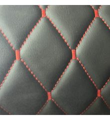 Diamond Quilted Leatherette With Foam Backing-Red