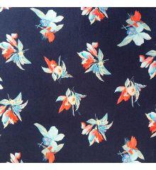 Floral Navy Blue Stretch Jersey