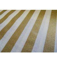Cream Golden Stripe Christmas Cotton Poplin