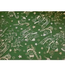 Christmas Silver Sleigh Chiffon-Green