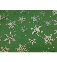 Christmas Silver Snowflakes Chiffon-Green