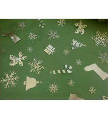 Christmas Silver Stockings and Presents Chiffon-Green