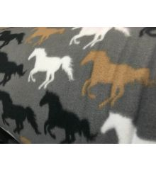 Horse Anti Pil Polar Fleece Bedding Fabric - Grey