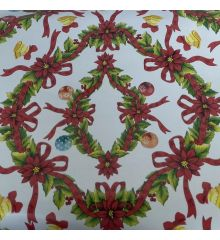 Holly & Bows Christmas PVC Tablecloth Fabric