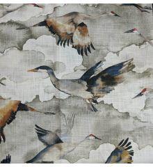 Flyaway Cranes Soft Linen Curtain Fabric-Natural