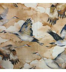 Flyaway Cranes Soft Linen Curtain Fabric-Gold