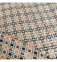 Wool Orange Black And Cream Squares Curtain Fabric