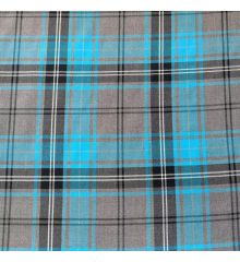 Grey And Turquoise Blue Poly Viscose Tartan Fabric