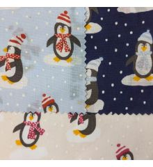 Christmas Penguins Polycotton