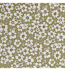 Moss Green Floral Print Cotton Poplin