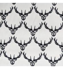 Deer Head Print Cotton Poplin