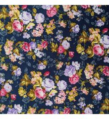 Floral Cotton Poplin (0323)-Navy
