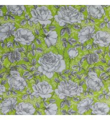 White Roses On Green Background Cotton Poplin