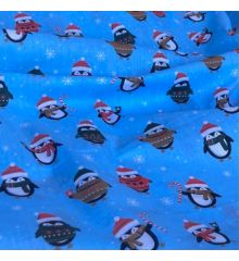 Christmas Polycotton Fabric - Penguins in Jumpers-Blue