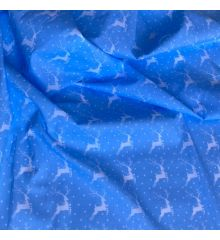 Christmas Polycotton Crafting Fabric 112cm Wide 40+ Designs-Christmas Reindeer - Blue