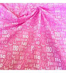 Christmas Polycotton Crafting Fabric 112cm Wide 40+ Designs-Ho Ho Ho - Pink