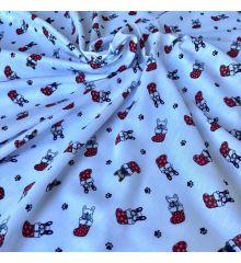 Christmas Polycotton - French Bulldogs in Stockings - White