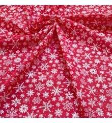 Christmas Polycotton Fabric - Christmas Snowflakes