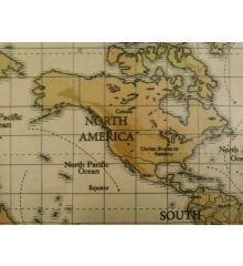 Fryetts Maps PVC Coated Tablecloth Fabric-Tan