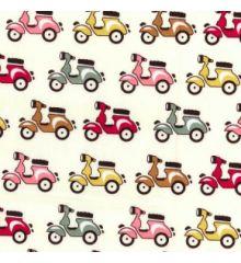 Coloured Mopeds Cotton Poplin Print