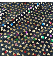 Gold Hearts Black Velour Fabric