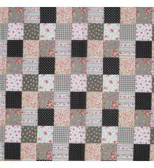 Patchwork Polycotton Fabric-Black