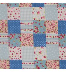 Patchwork Polycotton Fabric-Blue-