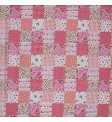 Patchwork Polycotton Fabric-Pink