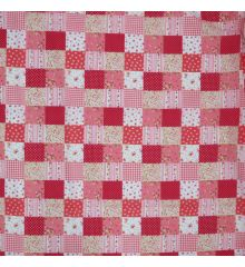 Patchwork Polycotton Fabric-Red