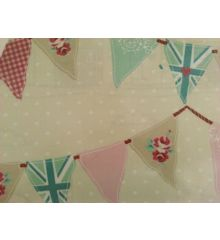 Fryetts Bunting PVC Coated Tablecloth Fabric-Pink