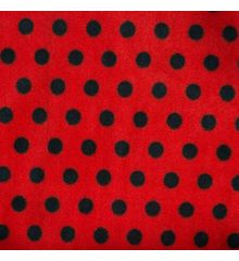 Polka Dot Antipil Polar Fleece-Black / Red