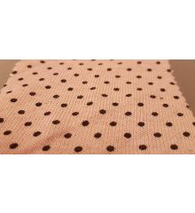 Polka Dot Linen Feel Jersey Fabric-Pink/Black Dots