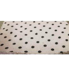 Polka Dot Linen Feel Jersey Fabric-White/Black Dots