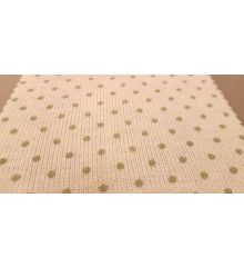 Polka Dot Linen Feel Jersey Fabric-White/Green Dots