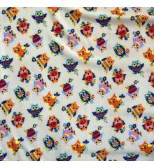 Printed Anti-Pil Polar Fleece Fabric 20+ Designs-Cartoon Owls
